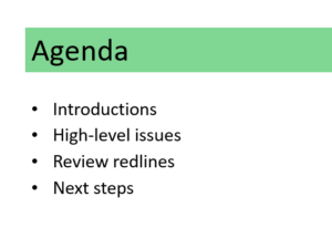 Agenda for contract negotiation calls.